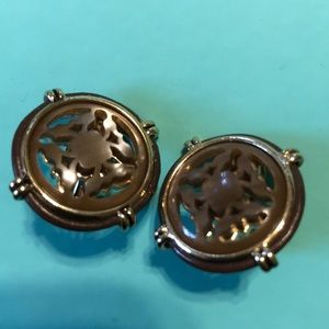 Vintage Monet Button Carved Earrings
